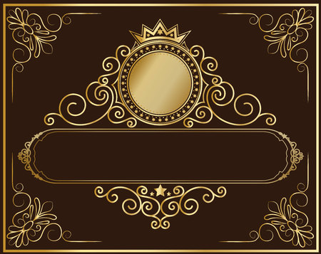 Decorative vintage frame and border set,photo , frame flourishes set of border and corner silhouette, Ornate and scroll frame elements is patterned Thai style