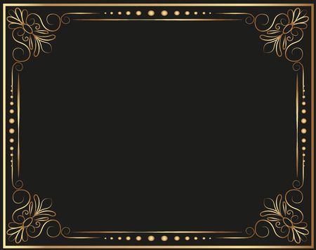 Gold photo frame with corner line floral for picture, Vector frame border design decoration pattern style. Thai art golden metal beautiful corner. Ilustracja