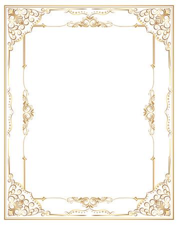 Gold photo frame with corner line floral for picture, Vector frame border design decoration pattern style. Thai art golden metal beautiful corner. Ilustrace