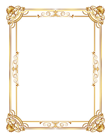 Gold photo frame with corner line floral for picture, Vector frame border design decoration pattern style. Thai art golden metal beautiful corner. Иллюстрация