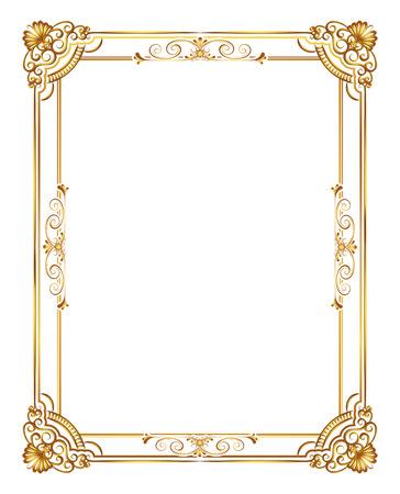 marco de la foto del oro con la línea de la esquina floral para la foto, frontera del marco del estilo de motivos de decoración de diseño vectorial. Arte tailandés de oro del metal precioso rincón.