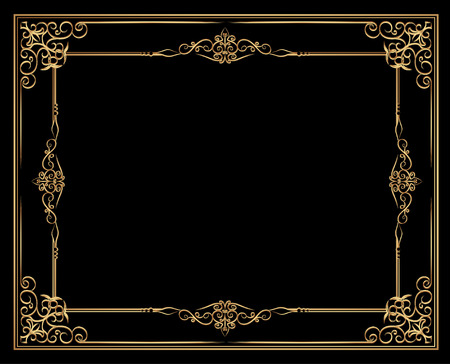 Gold photo frame with corner line floral for picture, Vector frame border design decoration pattern style. Thai art golden metal beautiful corner. 일러스트