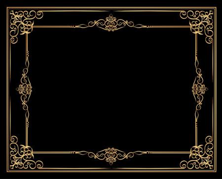 Gold photo frame with corner line floral for picture, Vector frame border design decoration pattern style. Thai art golden metal beautiful corner. Illustration