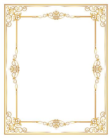 Gouden fotolijst met hoek lijn bloemen voor beeld, Vector frame grens ontwerp decoratie patroon stijl. Thaise kunst gouden metal mooie hoek. Stock Illustratie