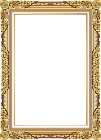 Gold photo frame with corner line floral for picture, Vector frame border design decoration pattern style. Thai art golden metal beautiful corner.