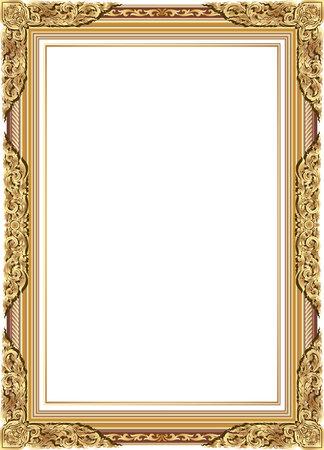 marco de la foto del oro con la línea de la esquina floral para la foto, frontera del marco del estilo de motivos de decoración de diseño vectorial. Arte tailandés de oro del metal precioso rincón. Ilustración de vector