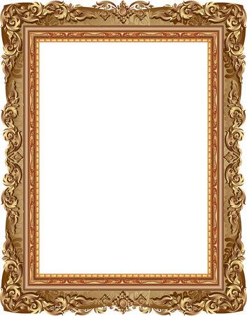 Gold photo frame with corner line floral for picture, Vector frame border design decoration pattern style. Thai art golden metal beautiful corner. Vettoriali