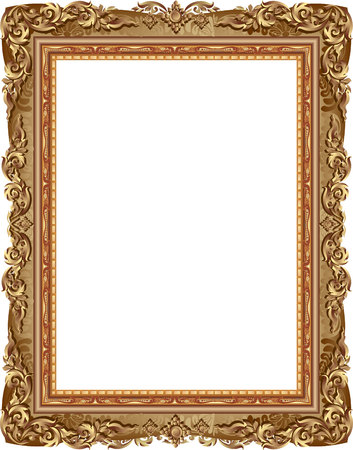 Gold-Bilderrahmen mit Eckenlinie Blumen für Bild, Vektor-Frame-Rahmen-Design Dekoration Muster Stil. Thai-Kunst goldenen Metall schöne Ecke. Standard-Bild - 66069701