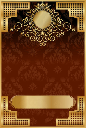 Gold photo frame with corner line floral for picture, Vector frame border design decoration pattern style. Thai art golden metal beautiful corner. Stock Illustratie
