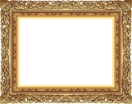 Gold photo frame with corner line floral for picture, Vector frame border design decoration pattern style. Thai art golden metal beautiful corner. Çizim