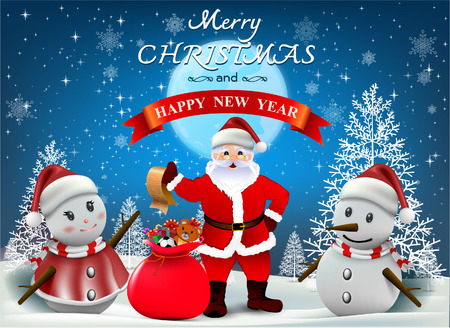 christmastide: Merry Christmas! Happy Christmas and happy new year companions. Winter landscape and Smiling snowman, High detailed vector illustration, Illustration