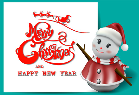 Merry Christmas! Happy Christmas and happy new year companions. Winter landscape and Smiling snowman, High detailed vector illustration, Ilustrace