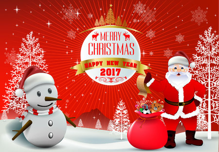 companions: Merry Christmas! Happy Christmas and happy new year companions. Winter landscape and Smiling snowman, High detailed vector illustration, Illustration