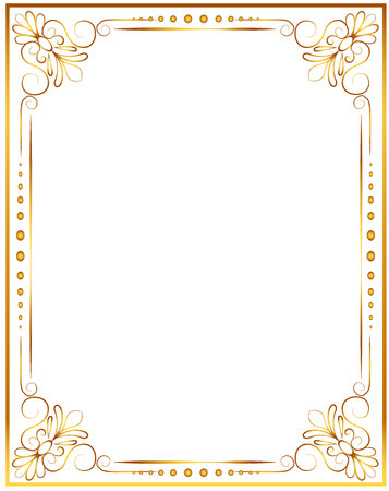 Gold photo frame with corner thailand line floral for picture, Vector design decoration pattern style. wood border design is patterned Thai style Stock Illustratie