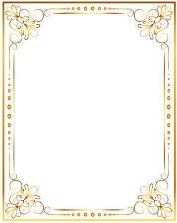 Marco de fotos de oro con la esquina de Tailandia línea floral para la imagen, decoración de estilo de diseño Vector patrón. Diseño de frontera de la madera es el modelo de estilo tailandés