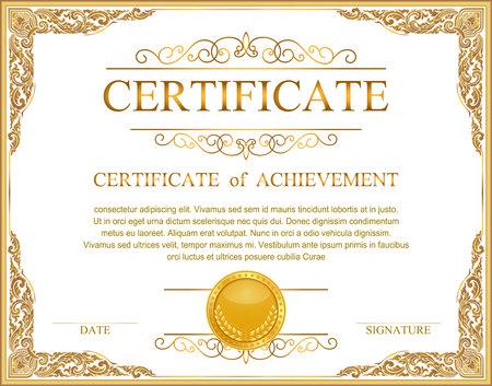 Vintage retro frame certificate background design template, gold detailed certificate 矢量图像