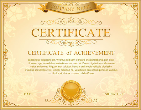 Vintage retro frame certificate background design template, gold detailed certificate 免版税图像 - 69264715