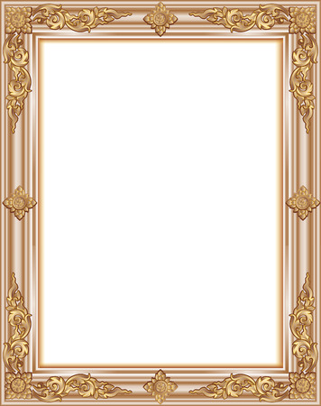 Gold photo frame with corner thailand line floral for picture, Vector design decoration pattern style. wood border design is patterned Thai style Stock Vector - 69360401