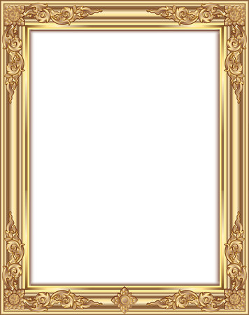 Gold photo frame with corner thailand line floral for picture, Vector design decoration pattern style. wood border design is patterned Thai style Illustration