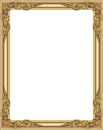 wood frame: Gold photo frame with corner thailand line floral for picture, Vector design decoration pattern style. wood border design is patterned Thai style Illustration