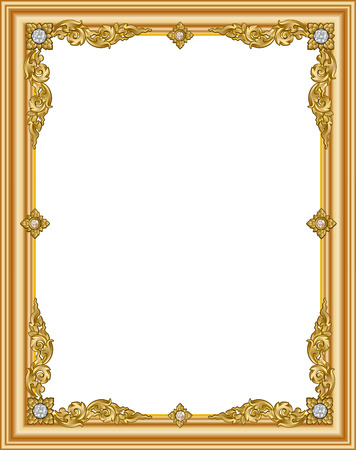 Gold photo frame with corner thailand line floral for picture, Vector design decoration pattern style. wood border design is patterned Thai style Çizim