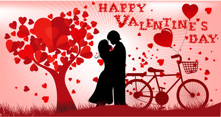 spoke: Holiday retro banners. Valentine trees with heart-shaped leaves. Vector Illustration