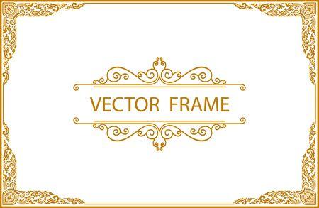 Gold border frame with line floral for picture, Vector design decoration pattern style. frame corner design is pattern