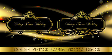 Royal frame on black pattern background, Vintage photo frame on drake background, antique, vector golden ornament Illustration