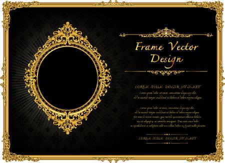 Royal frame on black pattern background Illustration
