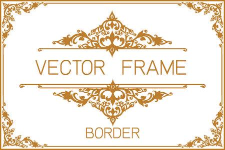 Arte tailandés, marco de la frontera del oro con la línea de Tailandia floral para la imagen, diseño de la decoración del vector diseño del estilo style.frame de la esquina es modelo Ilustración de vector