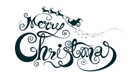 Merry christmas Text design, Calligraphy Font style Banner creative