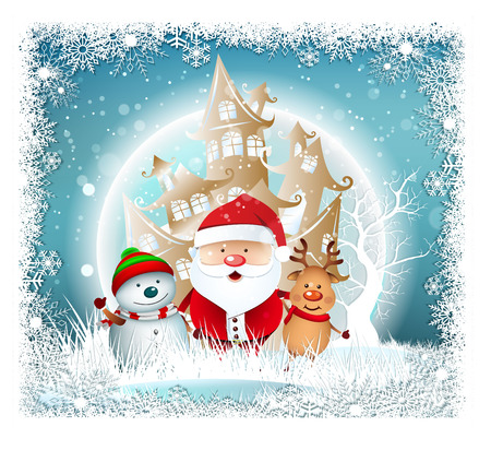 Cartoon Smiling Santa Clause and snowman with reindeer, High detailed vector illustration ,Happy Merry Christmas and happy new year companions. snowman on night background Illustration