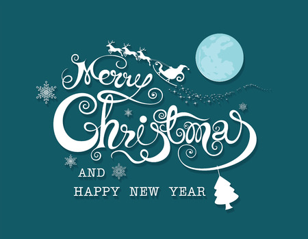 Happy Merry Christmas and happy new year  on night background Ilustrace