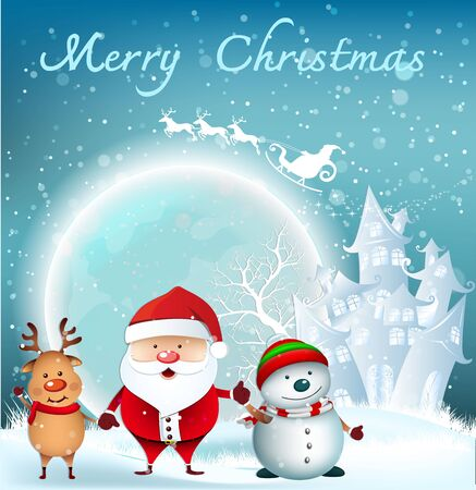 Cartoon Smiling Santa Clause and snowman with reindeer, High detailed vector illustration ,Happy Merry Christmas and happy new year companions. snowman on night background 矢量图像
