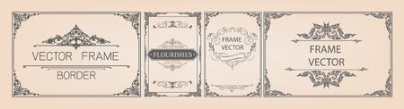 Set of Decorative vintage frames and borders set,Gold photo frame with corner Thailand line floral for picture, Vector design decoration pattern style. border design is pattern Thai art style
