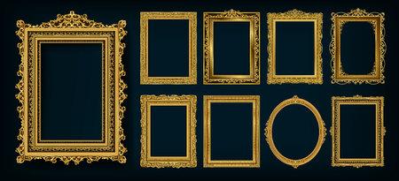 Conjunto de marcos y bordes decorativos vintage, marco de fotos dorado con esquina floral de Tailandia para la imagen, estilo de patrón de decoración de diseño vectorial. El diseño de la frontera es un patrón de estilo de arte tailandés. Ilustración de vector