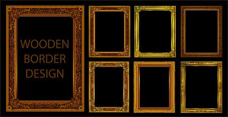 Satz von dekorativen Weinleserahmen und -grenzen gesetzt, Gold-Fotorahmen mit Ecke Thailand Linie Blumen für Bild, Vektor-Design-Dekorationsmusterstil. Grenzentwurf ist Muster thailändischer Kunststil