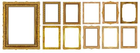 Conjunto de marcos y bordes decorativos vintage, marco de fotos dorado con esquina floral de Tailandia para la imagen, estilo de patrón de decoración de diseño vectorial. El diseño de la frontera es un patrón de estilo de arte tailandés.