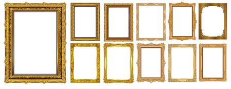Set of Decorative vintage frames and borders set,Gold photo frame with corner Thailand line floral for picture, Vector design decoration pattern style. border design is pattern Thai art style Фото со стока - 101985079