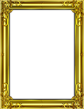 Gold photo frame with corner Thailand line floral for picture, Vector design decoration pattern style.