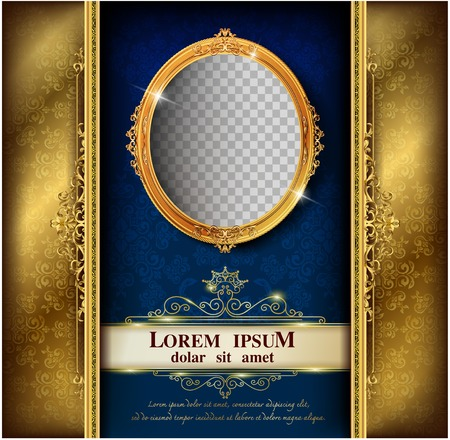 Decorative vintage frames and borders set,Gold photo frame with corner Thailand line floral for picture, Vector design decoration pattern style. border design is pattern Thai art style Ilustração