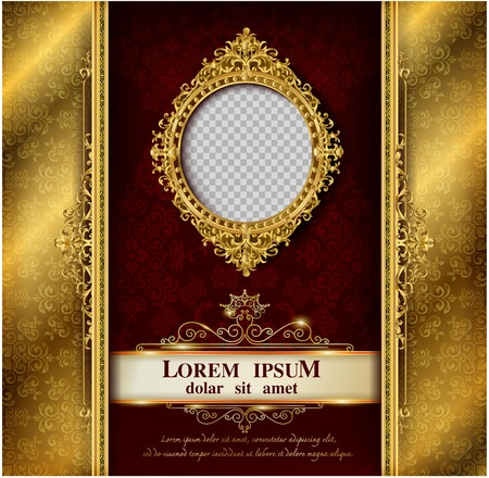 Decorative vintage frames and borders set,Gold photo frame with corner Thailand line floral for picture, Vector design decoration pattern style. border design is pattern Thai art style Çizim