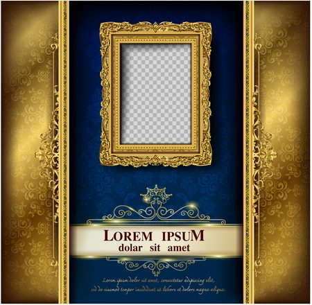 Decorative vintage frames and borders set,Gold photo frame with corner Thailand line floral for picture, Vector design decoration pattern style. border design is pattern Thai art style Ilustracja