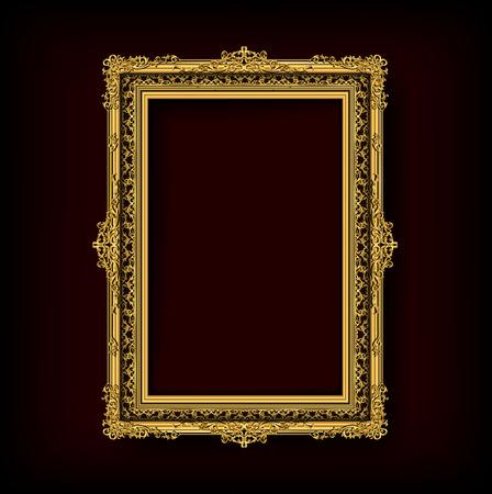 Thailand style Royal gold frame on pattern background, Vintage photo frame on drake background, antique, vector design pattern