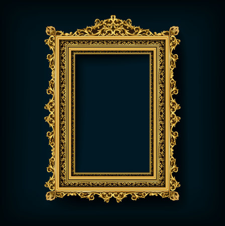 Decorative vintage frames and borders set,Gold photo frame with corner Thailand line floral for picture, Vector design decoration pattern style. border design is pattern Thai art style Иллюстрация
