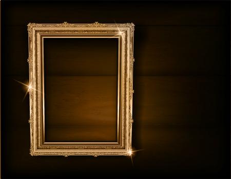 Ensemble de cadres et de bordures vintage décoratifs, cadre photo or avec coin Thaïlande ligne floral pour photo, style de modèle de décoration design vectoriel. la conception de la frontière est un modèle