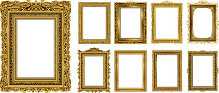 Set of Decorative vintage frames and borders set,Gold photo frame with corner Thailand line floral for picture, Vector design decoration pattern style. border design is pattern Thai art style Фото со стока - 105837993