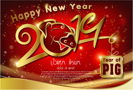 Pig Year 2019 Number and text Ilustracja