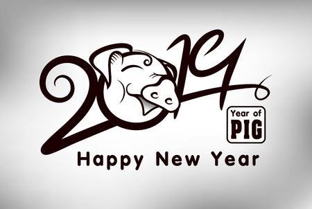 Pig Year 2019 Number and Stripes