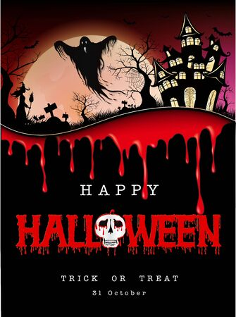 Happy Halloween message design on retro of paper background
